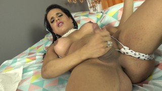Latina Shemale Toys Her Horny Ass While Jerking Off
