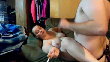 SMOKING & FUCKING HUGE STRAP ON DILDO
