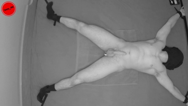 Helpless fetish - Helpless slave spread and tied down with a prostate toy in his ass