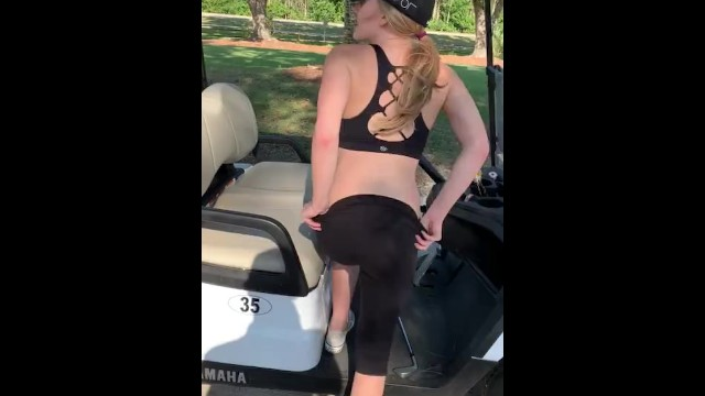 Golf course blowjobs - Teen flashes pussy on golf course