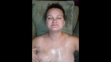 RUBS CUM ON BIG TITS POV CUMSHOT