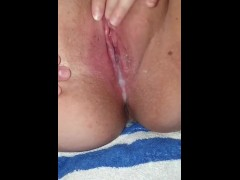Pushing out daddy's cum after he creampied me