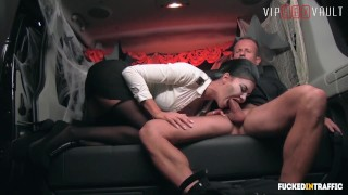 VIPSEXVAULT Super HOT Busty MILF Fucked On Halloween In a Czech Taxi