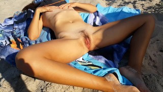 SUNBATHING PUSSY from outside and inside on NUDIST BEACH