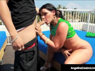 Thick big butt castro face fucks cock on restricted roof
