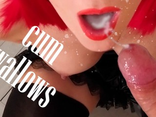Police woman swallows cum Officer makes a Blowjob and gets cum in mouth