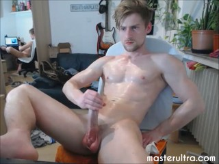 cute handsome student is oiled up and needs to jerk off in his dorm room