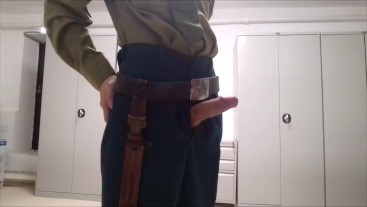 Russian soldier of the USSR shows his big cock in public
