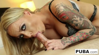 Tattooed curvy blonde sucks the jizz out of the cock!k