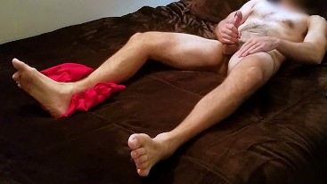 Dirty Talking, Hairy Str8 Jerks His Thick Dick & Cums (Closeup Feet View)