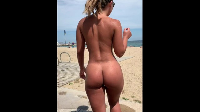 Taking Shower Naked On The Beach