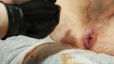 Bottle brush and latex glove fisting for his manpussy until he cums