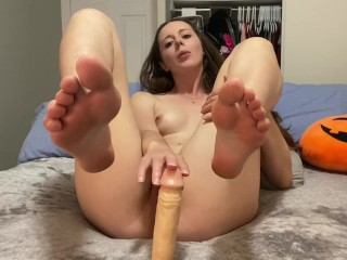Sensual blowjob footjob before fucking and begging for cum on my toes