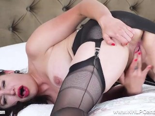 Big tits brunette babe Tindra Frost fingers wet pussy in nylons and heels Tindra Frost