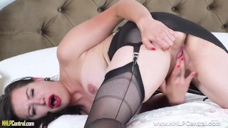 Big tits brunette babe Tindra Frost fingers wet pussy in nylons and heels