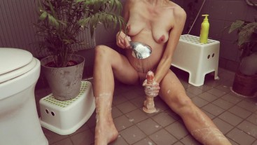 Dirty Dutch milf gives herself a good cleaning with zwitsal in the shower