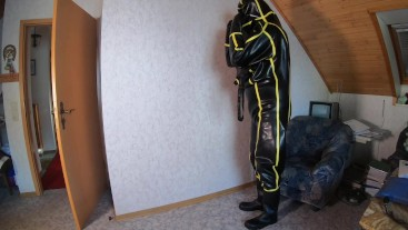 how to get in heavy rubber cyborg suit