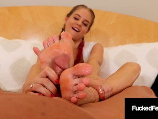 Pigtailed Foot Chick Anabelle Gives Superb Foot Job Anabelle Pync