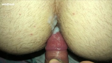 Friend is filling my ass with thick cum after bareback raw sex
