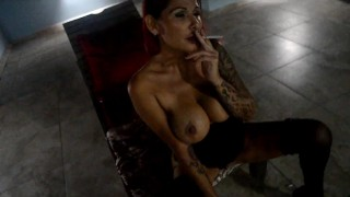 milf smoking in sexy lingerie, high heels, masturbating, squirting, blowjob