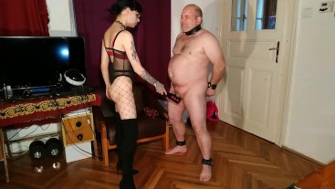 Beth Kinky - Sexy goth domina cbt & dick spanking fat slave pt1 HD