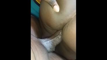 Bigass ebony school girl getting fucked with vibrating dildo and bbc