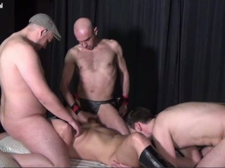 Gangbang with Blonde Mature Milf with a Big Ass Gets Cum over her Big Tits