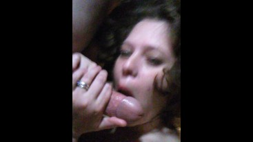 Sucking him dry as a bone and he cums so much I love it