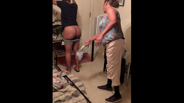 Adult spanked in pjs Angie spanks girl for wearing sweat shorts to school