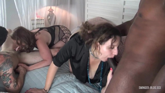 Free xxx blogs creampies - Amateur couples enjoying blowjobs and fucking in interracial swing party