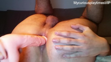 Fucking my smooth tight ass with my 9inch dildo - with cumshot to end