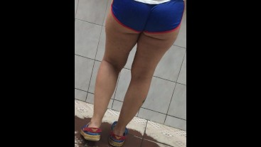 Wife in wonder women booty shorts in the chinesse restaurant