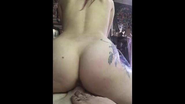 Sexy tattooed Persian redhead rides boyfriends cock reverse cowgirl clip