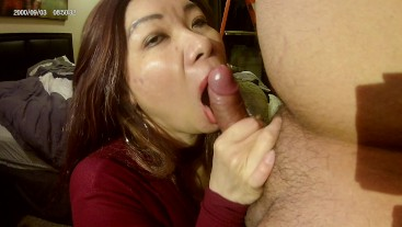 Asian MILF pimped out by her stepbrother part 3 blow job