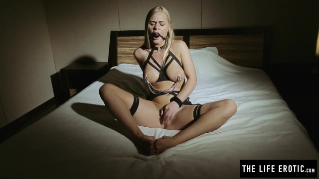 Boobs in clamps - Nipple clamps, ball gag and a riding crop make for a great day