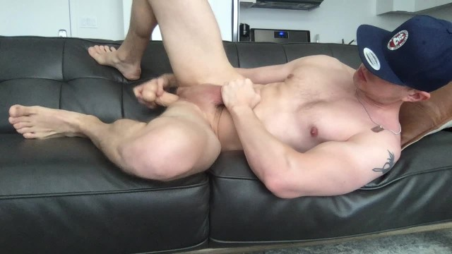 Gay guy playing with a dildo Muscular guy fists and dildo fucks his ass, jerks off fat dick and cums
