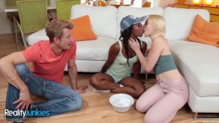 Reality Junkies – White and ebony coed share in anal threesome