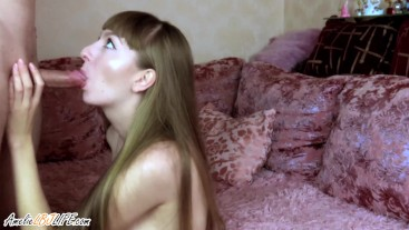 Brunette Blowjob Dick Lover and Rough Sex after Work