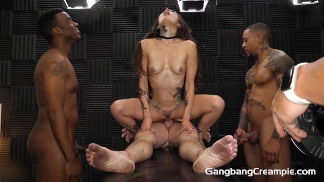 Skinny tattooed babe squirts milk in gangbang everywhere