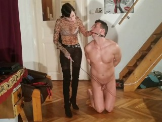 Sexy goth domina caning slaves penis cbt pt HD