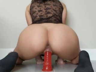 Teen Dildo Ride -18yo tight pussy rides big red dildo while workers at home