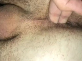 Friend fingering my after filling me...