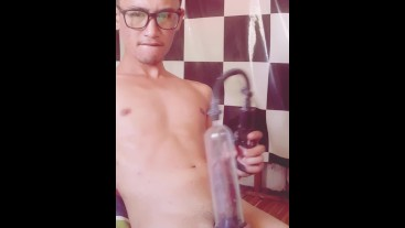 Andrei_B Playing with His Penis Pump, Masturbator, and Cumming