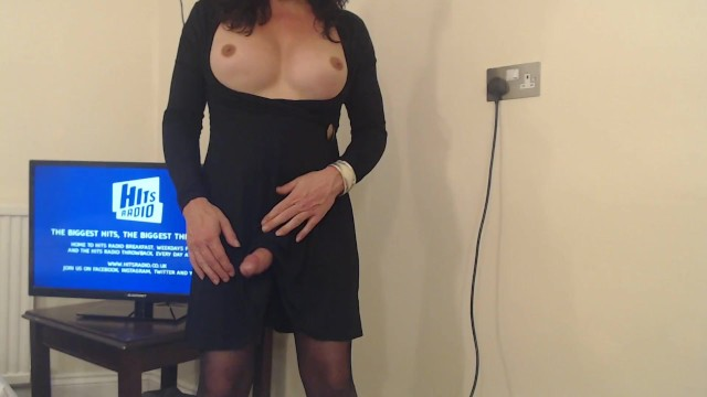 Uk amateur transvestites Mature transvestite with boobs talking and wanking boobs and cock out