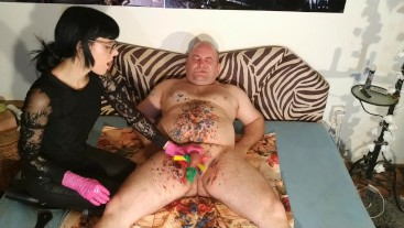 SEXY GOTH DOMINA MAKE CBT FOR OLD FAT SLAVE FULL