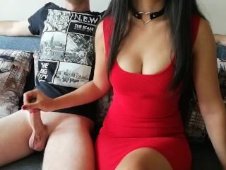 Hard handjob from asian girl in red dress and black choker