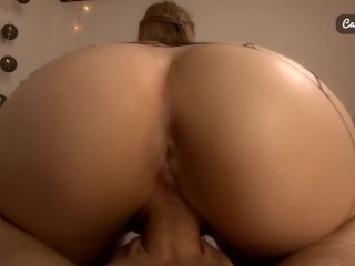 CLOSE UP! Step sister gets creampie in ripped fishnets reverse cowgirl POV
