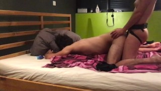 Sensual but intense pegging with strapon for young loving couple