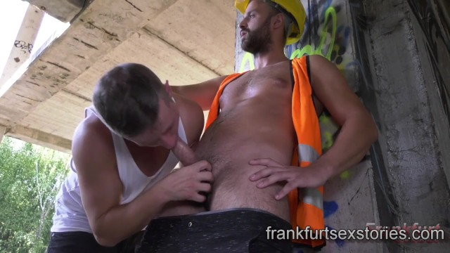 Gay restroom sex stories - Sexy construction worker fucks horny whimp in the open
