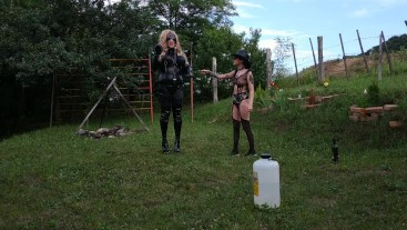SEXY SLIM GOTH DOMINA TRAINS HER TRANSGENDER HORSE SLAVE FULL